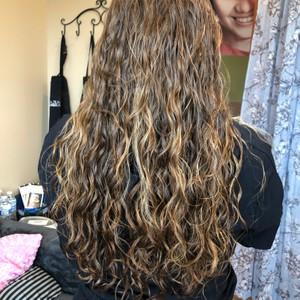 Long hair perm for texture and body