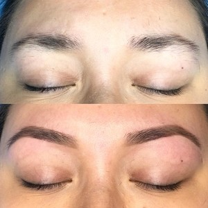 Before and after brow wax and fill in
