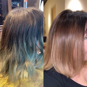 Washed-Out Box Blue to Natural Balayage
