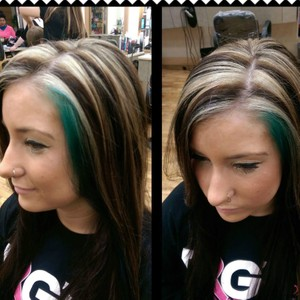 chunky highlites with all over color and teal around face.