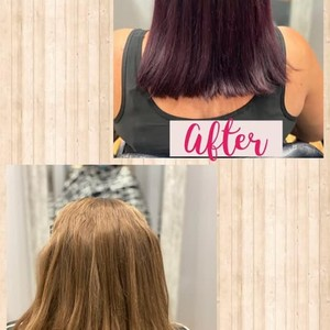 from dirty blonde to purple balayage