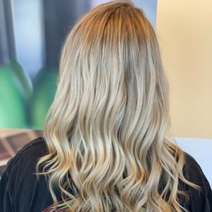 heavy partial highlight + icy blonde toner